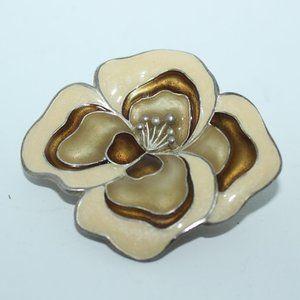 Silver Tone Enamel Flower Brooch